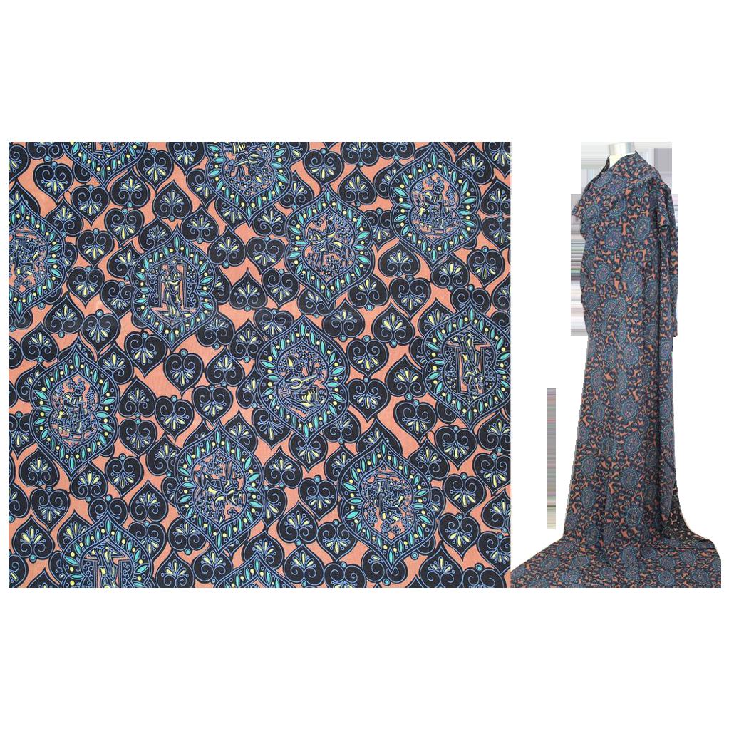 Vintage 1940s Novelty Persian Miniature Print Rayon Fabric