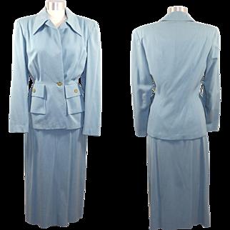 Vintage 40s/50s Powder Blue Wool Gabardine Skirt Suit XS