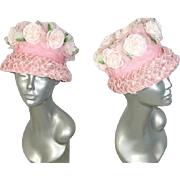 Vintage 1960s Pale Pink Rose Garden Flowered Cloche