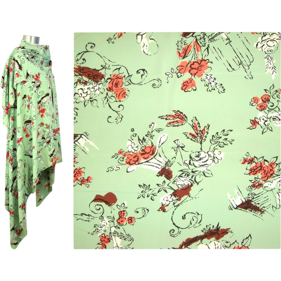 Vintage 40s/50s Skinner Fountains & Statues Rayon Novelty Print Fabric