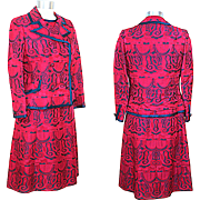 Vintage 1960s Navy & Magenta Brocade Dress Suit XS