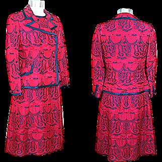 Vintage 1960s Navy & Magenta Brocade Dress Suit XS