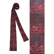 Vintage 50s/60s Red & Black Asian Brocade Skinny Tie Square End