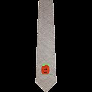 Vintage 1950s Grey Wool Skinny Tie s/Handpainted Jack O'Lantern