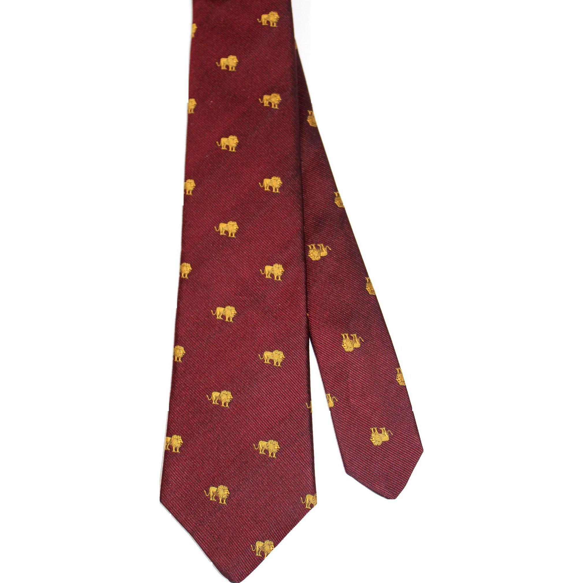 Vintage c.1980 Horchow Wine Silk Novelty Club Tie w/Gold Lions