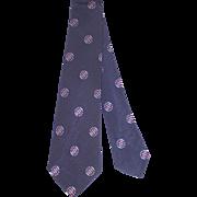 "Vintage 1930s Navy Silk Tie w/Deco Circle Motifs ""Barnard, Sumner & Putnam"""