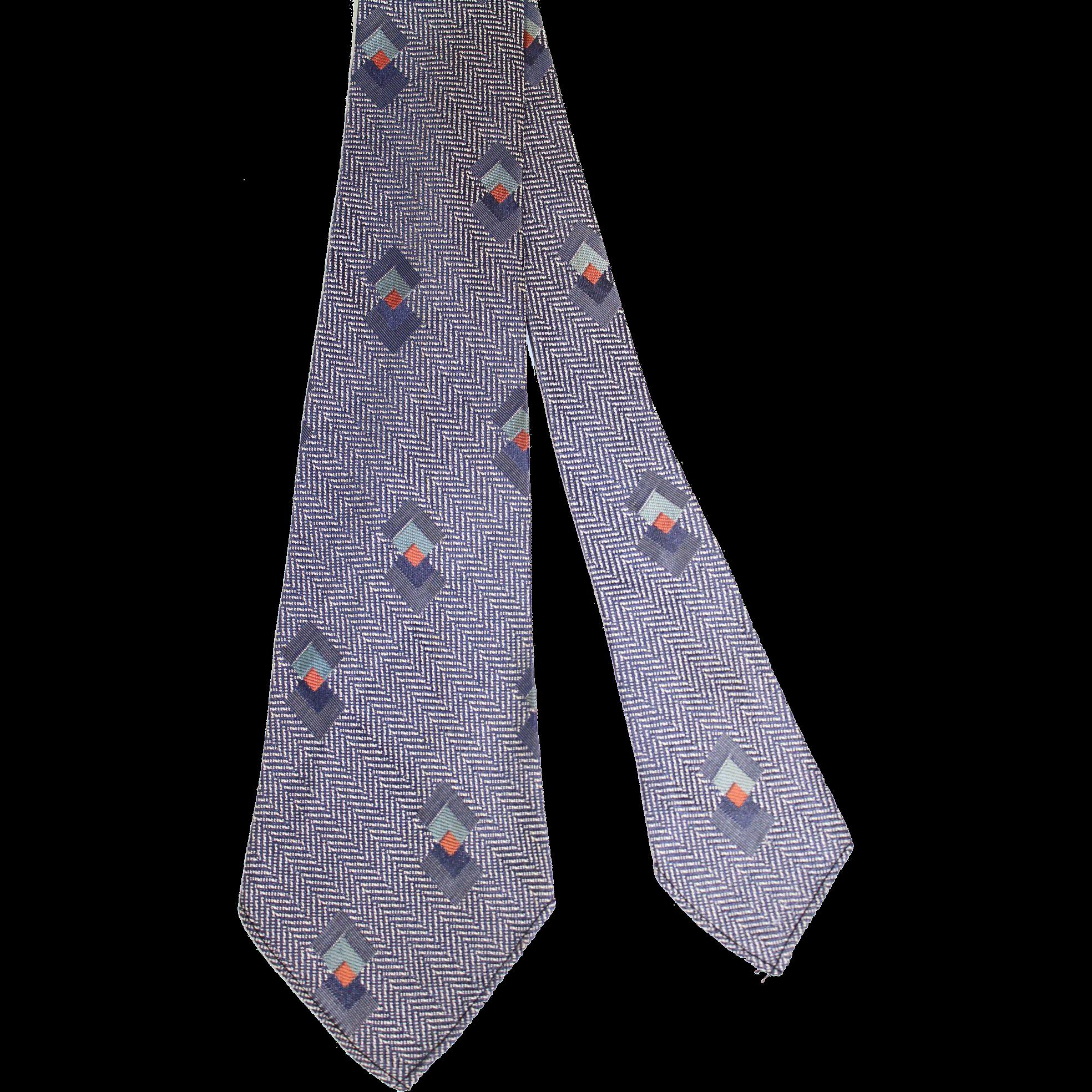 Vintage 1930s Slate Blue Herringbone & Art Deco Triangles Woven Silk Tie