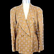 Vintage 1980s  Mila Schon Bronze & Silver Foulard Wool Blazer M/L