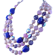 Vintage 1950s  Pink & Blue Art Glass & Aurora Borealis Beaded Necklace