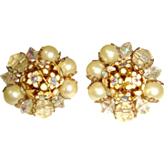 Vintage 50s Hobé Cluster Clip Earrings AB Crystals, Faux Pearls, & Enamel