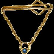 Vintage 30s Swank Tie Clip & Chain w/Blue Glass Stone
