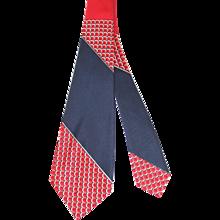 NOS Vintage 1940s Pilgrim Cravats Red, White & Blue Rayon Wide Tie