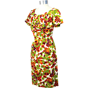 Vintage 50s/60s Alix of Miami Floral Cotton Sheath Sundress S/M