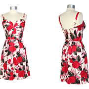 Vintage 1960s Madame Tilly of Saks Poppy Print Corset Sundress XS