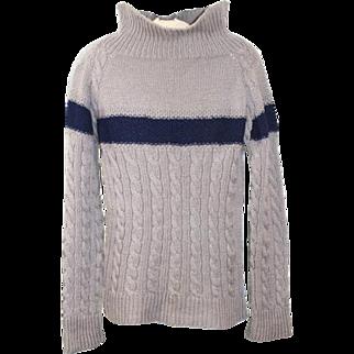 Vintage 1930s Grey & Blue Wool Men's Guernsey Sweater S