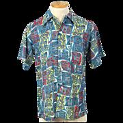 Vintage 40s/50s Enro Del Monte Designs Print Rayon Sport Shirt S