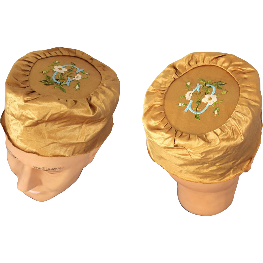 Late Victorian Unfinished Embroidered Gold Silk Smoking Cap