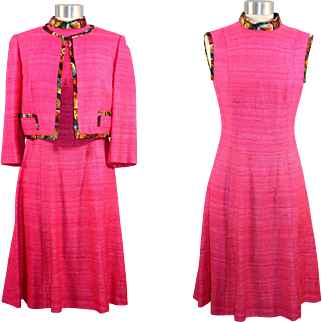 Vintage 1970s Vera Maxwell Pink Slub Silk Dress Suit S