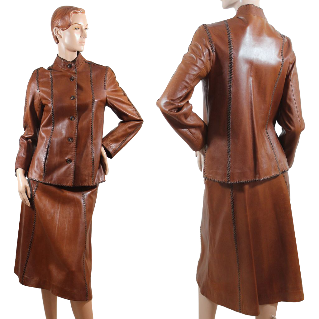 Vintage 1970s Oscar de la Renta Leather Suit XS