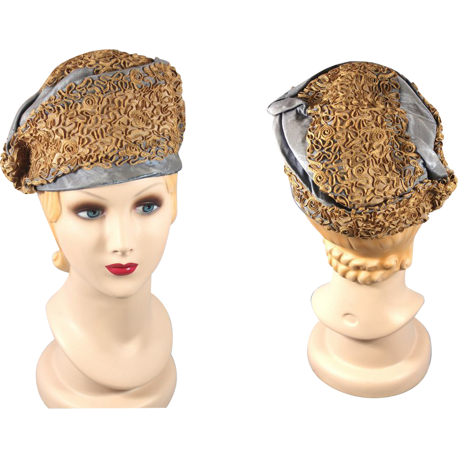 Late Teens/Early 1920s Gage Brothers Blue Silk Toque Hat w/Ecru Soutache