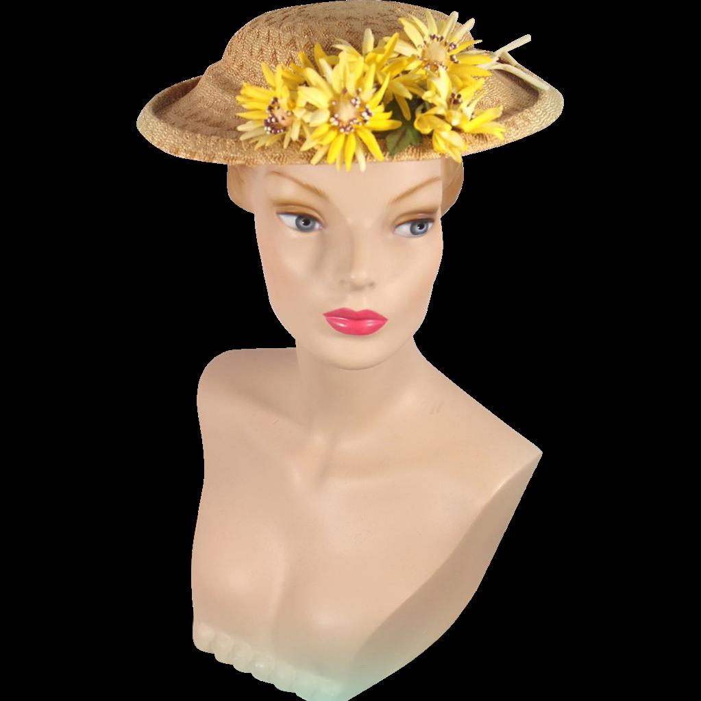 Vintage 1950s Straw Platter Hat w/Yellow Daisies
