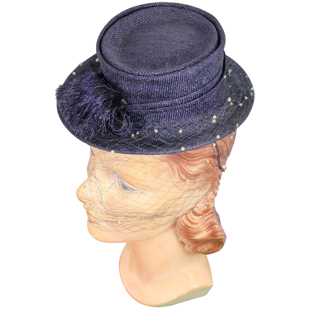 Vintage 30s/40s Navy Straw Toy or Doll Tilt Hat w/Dotted Veil