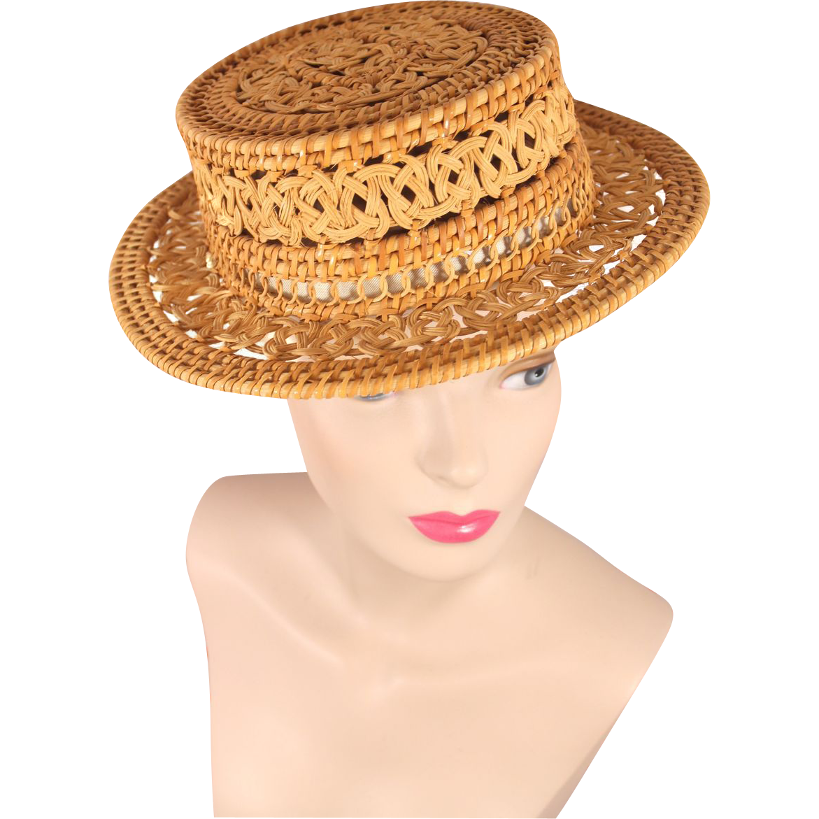 Vintage 1950s Woven Wicker or Rattan Boater Hat