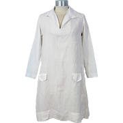 Vintage 1920s White Linen Middy Collar Summer Dress XS