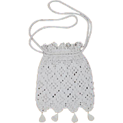 Antique 1910s White Crocheted Lace Drawstring Purse w/Bobbles