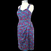Vintage 50s/60s Metallic Floral Cotton Sarong Sundress/Playsuit S/M