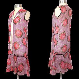 1920s Art Deco Sheer Cotton Dahlia Print Dress w/Middy Tie & Scarf XS