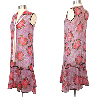 1920s Art Deco Sheer Cotton Dahlia Print Dress w/Middy Tie & Scarf XS