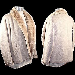Vintage 50s/60s Forstmann Cream Wool Jacket w/Mink Lining S/M