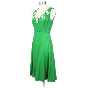 "Vintage 1960s ""POSH by Jay Anderson"" Green Linen Dress w/Braid Accents S"