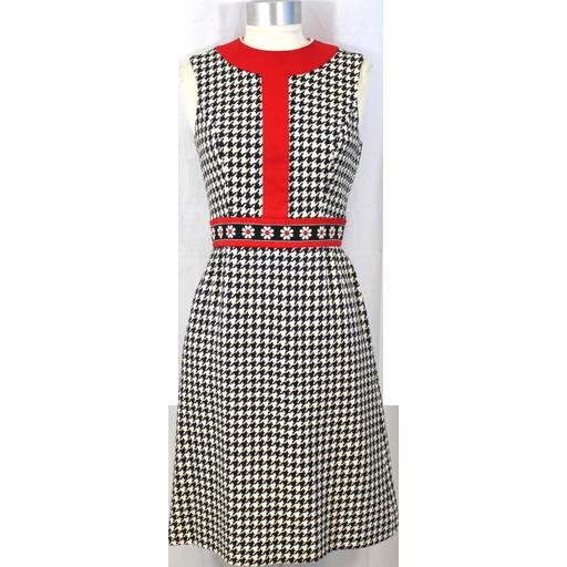 Vintage 60s/70s Ned Gould Black & White Herringbone Sheath Dress