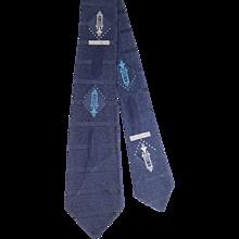 Vintage 1950s Towncraft Navy Blue Jacquard Satin Tie