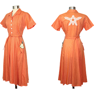 Vintage 1950s NOS Orange Cupioni & Cotton Dress w/Back Detail M