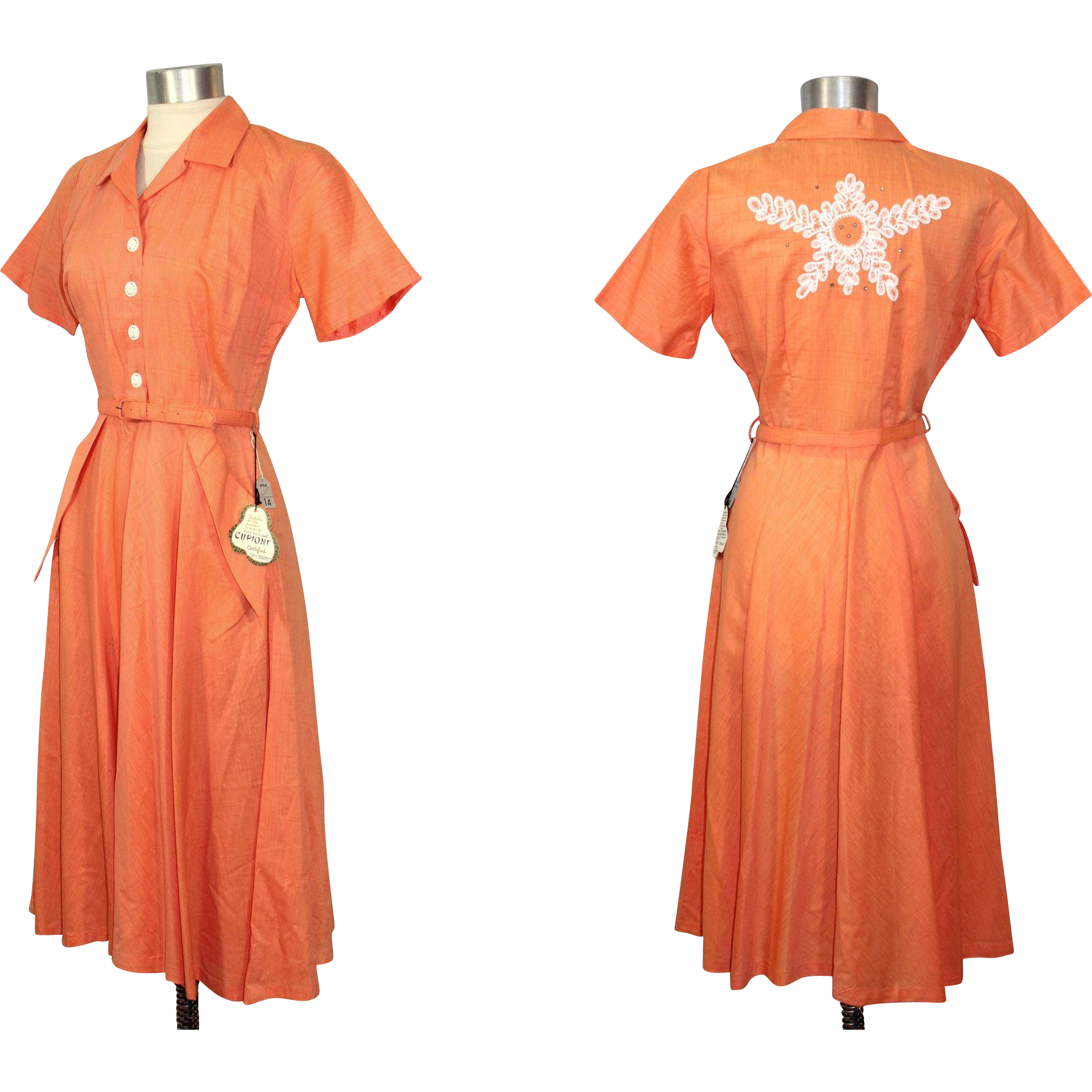 Vintage 1950s NOS Orange Cupioni & Cotton Dress w/Back Detail M