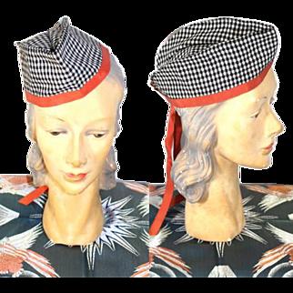 Vintage 1940s Ladies' Envelope Hat Glengarry or Garrison Cap