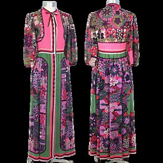 Vintage 1970s Lanvin Wool Voile Maxi Dress Flowers & Polka Dots XS/S