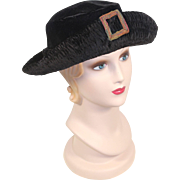 "1920s Black Panné Velvet Hat w/Braid ""Buckle"" Ornament"