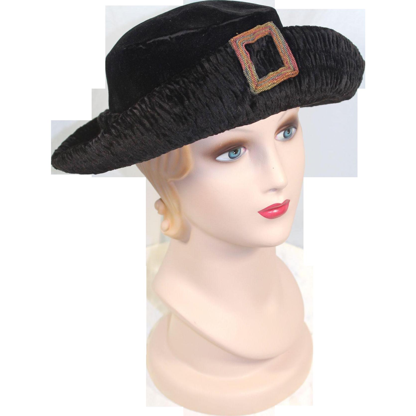 """1920s Black Panné Velvet Hat w/Braid """"Buckle"""" Ornament"""