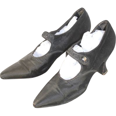 Circa.1920 Black Silk Evening Shoes w/Beaded Straps