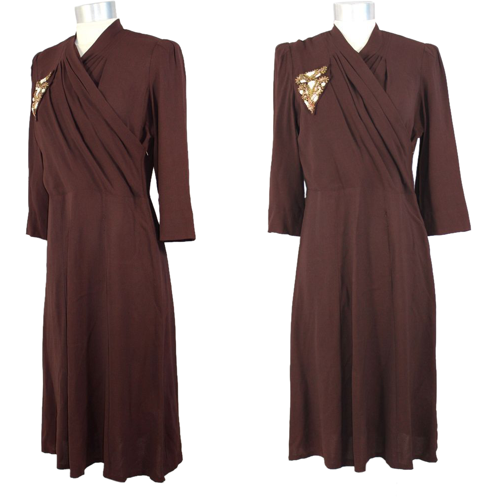 "Vintage 30s/40s Brown Rayon Dress w/Sequinned ""Pocket"" S/M"