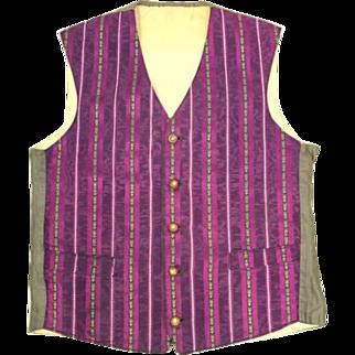 Antique c. 1910 Purple & Green Striped Brocade Waistcoat or Vest S/XS