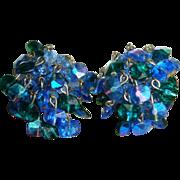 Vintage 60s Vogue Peacock Blue AB Rivoli Bead Dangle Earrings