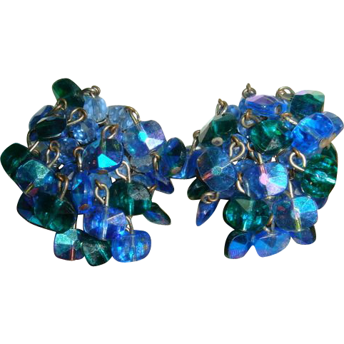 Vintage 60s Vogue Peacock Blue AB Rivoli Bead Dangle Earrings