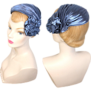 Vintage 1950s Sculpted Blue Rose Satin Cocktail Demi Hat