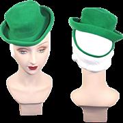 Vintage 1940s Kelly Green Felt Mini Homburg Suit Hat