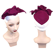 Vintage 1940s Magenta Felt Bow-Accented Hat New York Creation?Bloomingdale's